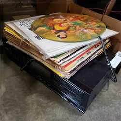 FISHER RECEIVER AND LOT OF RECORDS
