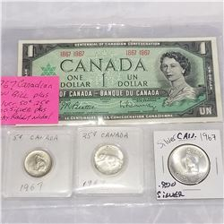 1967 CANADIAN 1 DOLLAR BILL AND SILVER 50 CENT AND 25 CENT .800 SILVER AND LUCKY RABBIT NICKEL