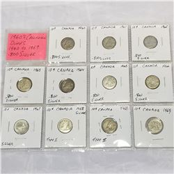1960s CANADIAN DIMES 1960-1969 .800 SILVER