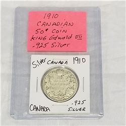 1910 CANADIAN 50 CENT COIN KING EDWARD VII .925 SILVER