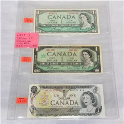 LAST 3 ISSUES OF CANADIAN 1 DOLLAR BILLS - 1954, 1967, AND 1973
