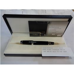 MONT BLANC FOUNTAIN PEN W/ 14KT WHITE GOLD TIP W/ CASE