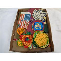 LOT OF BOY SCOUT BADGES AND BRASS HORSE MEDALIONS