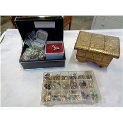 CASE OF EARRINGS, BRASS BOX JEWELLERY, AND BLACK BOX JEWELLERY