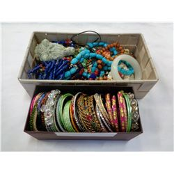LOT OF BANGLES, JEWELRY AND GODDESS FIGURE
