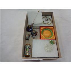 LOT OF CLOISONNE AND JADE JEWELLERY, AND OTHER ITEMS