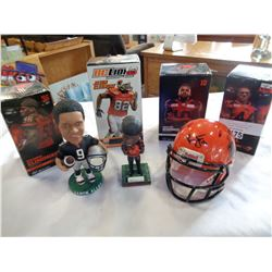 6 BC LIONS BOBBLE HEADS AND SIGNED HELMET DECORATION