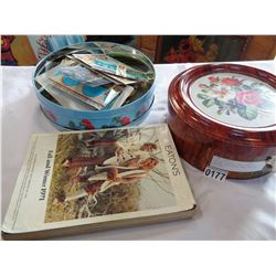 TIN OF VINTAGE POST CARDS, EATONS CATALOGUE, AND TIN OF DOILIES