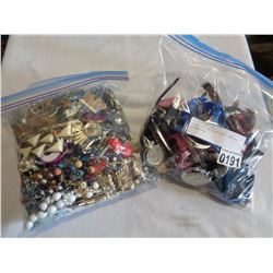 LARGE BAG OF JEWELLERY AND BAG OF WATCHES