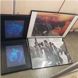 SHIMMEL CANYON OF THE AGES PRINT, ROBERT DOISNEAU PRINT, AND 2 FLOWER PRINTS