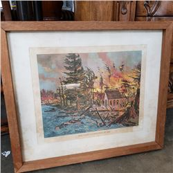 VINTAGE LITHOGRAPH FRAMED THE VANCOUVER FIRE 1886