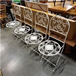 4 WHITE METAL FOLDING BISTRO CHAIRS