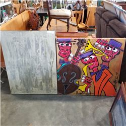PAINTING ON CANVAS OF JAZZ PLAYERS LANGLEY ARTIST AND LARGE ABSTRACT