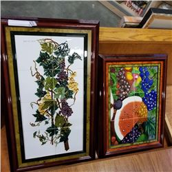 2PC HAND PAINTED TILE ART