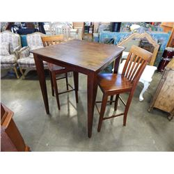 MODERN SQUARE PUB HEIGHT TABLE W/ 2 STOOLS
