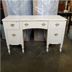 WHITE ROLLING 5 DRAWER VANITY DRESSER