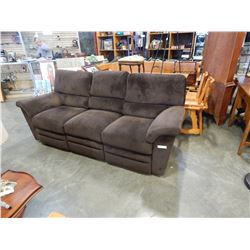 DARK BROWN MICROFIRE DOUBLE RECLINER SOFA