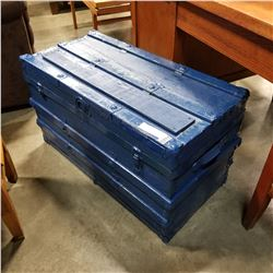 BLUE TRUNK W/ METAL CANS