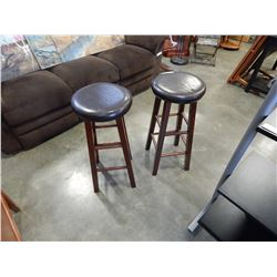 2 WOOD AND BROWN LEATHER BAR STOOLS