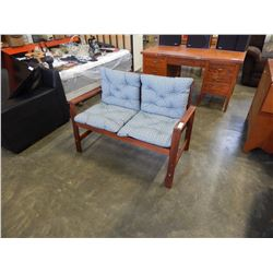 2 SEAT WOOD BENCH W/ CUSHIONS