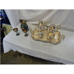 SILVER PLATED TEA SERVICE AND LARGE TRAY