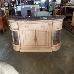 STONE TOP 3 DRAWER SERVER W/ BOWED GLASS DOORS