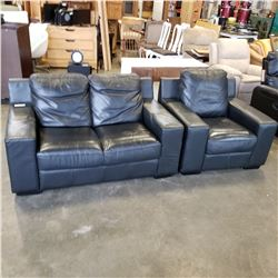 BLACK LEATHER ARMCHAIR AND MATCHING LOVE SEAT