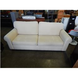 LARGE ROLLED ARM BEIGE SOFA