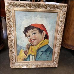 VINTAGE OIL ON CANVAS R. DOMINI PORTRAIT