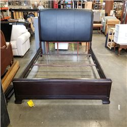 WOOD FRAMED BLACK LEATHER QUEENSIZE BEDFRAME