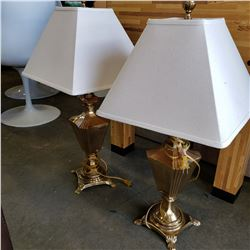 PAIR OF SOLID BRASS HEAVY URN STYLE LAMPS