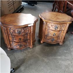 PAIR OF SCHNADIO CARVED 3 DRAWER NIGHTSTANDS