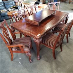 ASHLEY FURNITURE DINING TABLE W/ LEAF AND 6 CHAIRS