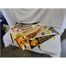 LOT OF HAMILTON TIGER CATS PENNANTS, PATCH, AND STICKER