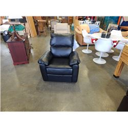 NEW LIFESTYLE SOLUTIONS WEBSTER RELAX-A-LOUNGER RECLINER, FAUX BLACK LEATHER, RETAIL $499, SIDE PIEC