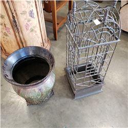 METAL PLANTER POT AND METAL DECORATIVE BIRD CAGE