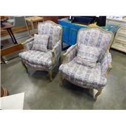 PAIR OF WOOD FRAMED UPHOLSTERED OCCASIONAL CHAIRS