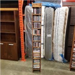 PINE 7FT CD/DVD RACK W/ CDS AND DVDS