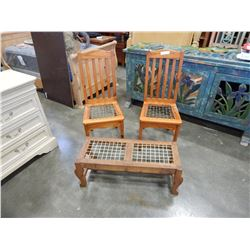 PAIR OF PINE CHAIRS AND BENCH