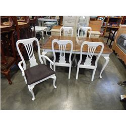 RUSTIC QUEEN ANNE DINING TABLE W/ 4 CHAIRS, LEAF, AND CAPTAIN CHAIR