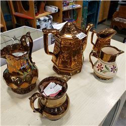 WADE ENGLAND PITCHER AND 4PCS COPPER PORCELAIN