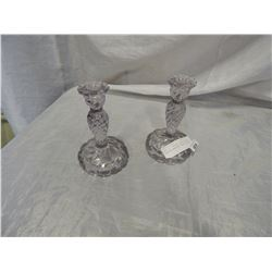 PAIR OF CRYSTAL CANDLE STICKS TURNING AMETHYST CANDLE STICKS