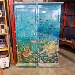 PAIR OF HAND PAINTED AQUATIC THEMED WARDROBE CABINETS