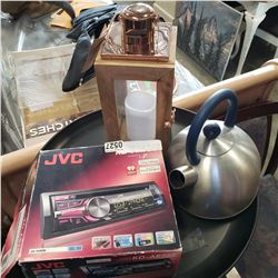 LED CANDLE LANTERN, IKEA KETTLE, AND JVC CAR RADIO