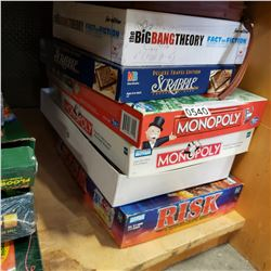LOT OF BOARD GAMES, MONOPOLY, RISK, ETC