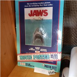 JAWS VINTAGE 500 PIECE MOVIE POSTER PUZZLE - COMPLETE