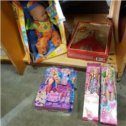 4 SEALED BARBIE DOLLS AND JOLLY DOLLY