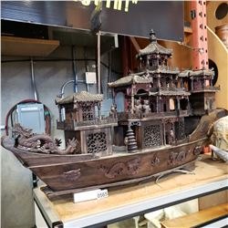 CHINESE HAND CRAFTED TAN ROSEWOOD 'JUNK' SAILING VESSEL MODEL 42IN LONG 2FT TALL  VALUED OVER $4,000