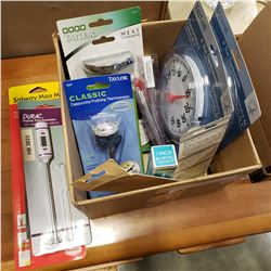 BOX OF NEW THERMOMETERS INDOOR/OUTDOOR, MEAT, AND OTHER