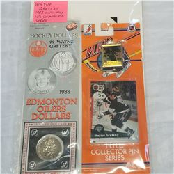 WAYNE GRETZKY 1982 COIN AND NHL COLLECTOR PIN SERIES